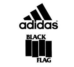 Adidas logo and Black Flag logo