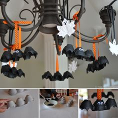 Egg Carton Bats and Leaf Ghosts Tutorial for Halloween - http://www.amazinginteriordesign.com/egg-carton-bats-leaf-ghosts-tutorial-halloween/