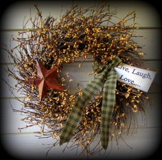 """Pip Berry Wreath-22"""" - Primitive Home Decor and More....."""