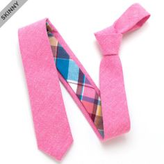 Rose Chambray & 1960s Western Sky Plaid Skinny - vintage ties handmade in the United States