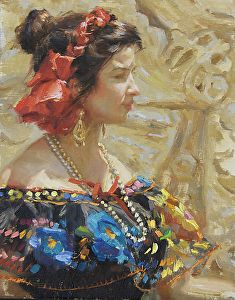 Pensive by Gladys Roldan-de-Moras Oil ~ 14 x 11