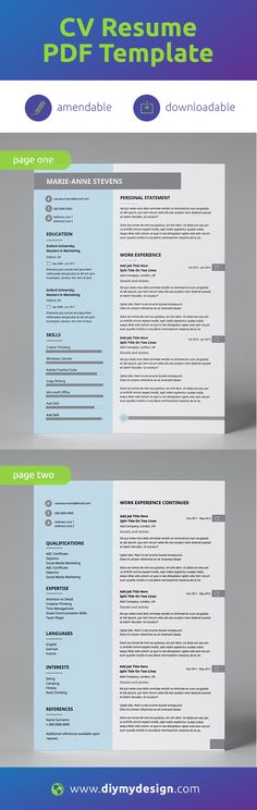Downloadable PDF Template  |  Professionally Designed  |  All Text is Amendable + Supports Multiple Alphabets |  Printable  We have a range of CV amendable templates which can be used by anyone! You don't need any special skills to have a great looking CV.  diy-my-design provides professional, pre-designed, amendable CV templates in PDF format.   #cv #resume #pdf #resumetemplate #cvtemplate #amendabletemplate #job #jobsearch #career #success #jobs #careeradvice