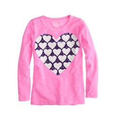 J.Crew - Girls' long-sleeve sequin hearts tee