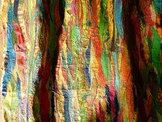 """Detail from work:"""" Color deafness"""" fused plastic, organza, theads, sewn 90 x 75 cm Detail uit werk """"Kleurendoof"""" freemotion meander naaiwerk, organza, heel veel fused plastic. Geskea Andriessen - 2015"""