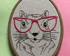 Squirrel in glasses - modern embroidery hoop trady to hang.