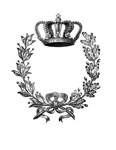 Iron on Transfer - Wreath with Crown - 2 - The Graphics Fairy