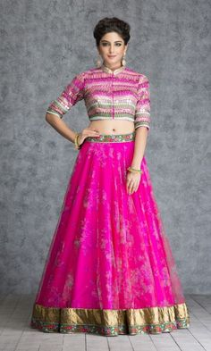 METALLIC EMBROIDERED SHOCKING PINK TULLE SKIRT AND CROP TOP