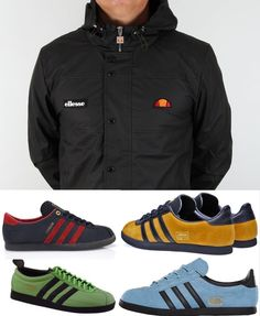 Mega bargain priced ellesse classic Castelli jacket is a quality piece of kit, available for just £65 at 80's casual classics and the neutral canvas allows you to go with some zinging adiporn - how about the Macaw/Black Gazelles, or one from a pair of Trimm Star's in Sky/Black or Gold/Black, or you could go for the Island Series Jamaincas and Trinidad & Tobagos which are similar, or if you want completely understated, how about the Crooked Tongues London - don't scuff 'em though ;-)