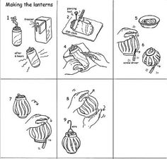 Making lanterns from pop cans:  2 aluminium soda cans  Wire – 30cm  Cutter and small pliers  Screwdriver  Piercing tool  Black marker  Dish cloth  Basin  Tealights