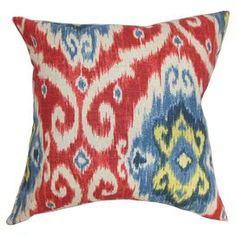 """Showcasing a chic palette and artful design, this beautifully crafted pillow offers an eye-catching focal point for your sofa and adds a plush touch to your favorite arm chair.   Product: PillowConstruction Material: Cotton cover and 95/5 down fillColor: Red and blueFeatures:  Insert includedHidden zipper closureMade in the USA Dimensions: 18"""" x 18""""Cleaning and Care: Spot clean"""
