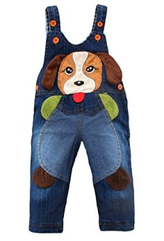 Kidscool Baby Cotton Denim Cute 3D Dog Decoration Soft to Wear Overalls * Continue to the product at the image link.
