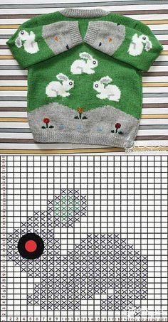 Кофточка с зайчиками. [] #<br/> # #Knitting,<br/> # #Tissues<br/>