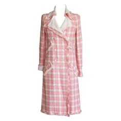 CHANEL 04C Resort coveted pink and white fringed coat NWT 38   From a collection of rare vintage coats and outerwear at https://www.1stdibs.com/fashion/clothing/coats-outerwear/