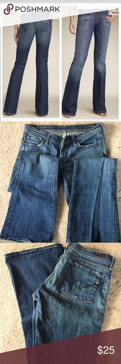 COH jeans Excellent condition COH dark wash jeans. Super cute! Bought at a consignment boutique for my sister & they didn't fit. Asking what I paid. Citizens of Humanity Jeans Flare & Wide Leg