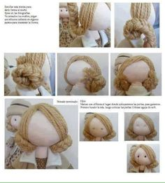How to give a rag doll hair text is in russian but the pictures are pretty good i can figure this out – ArtofitThe content for you if you like fabric dolls fabricdolls – Artofit Doll Crafts, Diy Doll, Clothespin Dolls, Sewing Dolls, Doll Tutorial, Waldorf Dolls, Doll Hair, Fairy Dolls, Soft Dolls