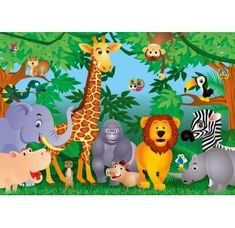 Photo Wallpaper Jungle Animals Wall Mural Wall Covering For Kids Green Blue by Wizard at the The Wallpaper Store Party Animals, Jungle Animals, Animal Party, Water Animals, Wild Animals, Deco Jungle, Jungle Theme, Jungle Cake, Photo Wallpaper