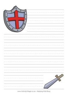 Shield writing paper armor of God Kindergarten Writing, Teaching Writing, First Grade Projects, Good Knight, Magic Treehouse, Dragons, Baby Drawing, English Fun, Armor Of God