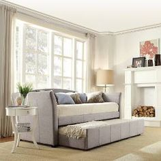 Paige Daybed with Pullout Trundle - Grey Linen (Twin)