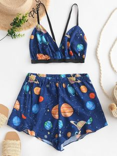 Planet Star Galaxy Bralette Top and Short Set - Blueberry Blue . Cute Lazy Outfits, Teenage Outfits, Teen Fashion Outfits, Mode Outfits, Outfits For Teens, Trendy Outfits, Girl Outfits, Style Fashion, Ad Fashion
