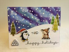 Lawn Fawn Toboggan Together, Snowy Backdrops, Stitched Hillsides dies