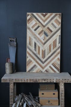 IMG_9363- use of dark navy wall with rustic geometric pattern