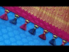 In this video, We have shown how to make saree kuchu design using beads. It's suitable for Silk sarees and also easy to make. I hope this video helps you to . Saree Tassels Designs, Saree Kuchu Designs, Fancy Blouse Designs, Blouse Neck Designs, Bridal Sarees South Indian, Simple Sarees, Beautiful Rangoli Designs, Sewing Stitches, Saree Blouse