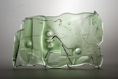 Lubomir Blecha, the relief, hot formed glass, 1969, Novy Bor (Haida), M: 26,0 x 40,0 cm, Czechoslovakia