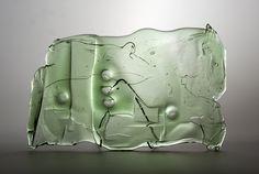 Lubomir Blecha, the relief, hot formed glass, 1969, Novy Bor (Haida), M: 26,0 x 40,0 cm, Czechoslovakia