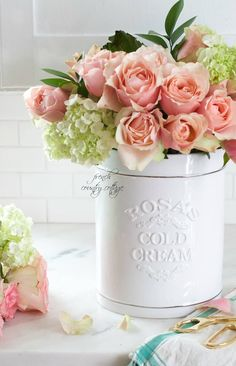 White Ceramic Crock Flower Vase