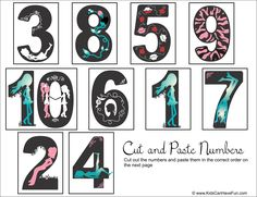 Cut and Paste Girly Numbers into the correct sequence http://www.kidscanhavefun.com/cut-paste-activities.htm #numbers #worksheet #kidsactivities