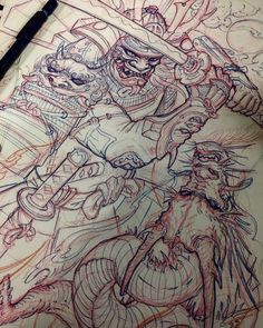 Samurai and Dragon sketch by @tonyhu_chronicink. Who would want to see a SAMURAI tutorial from tony in the future?