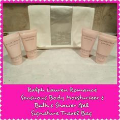 Ralph Lauren Romance Travel Set & Bag This ROMANCE RALPH LAUREN ROMANCE TRAVEL SET includes favorites of this magnificent fragrance collection. (2) Sensuous Body Moisturizer 1.7 oz and (2) Sensuous Bath and Shower Gel 1.7 oz. I am including a white canvas travel bag accented in metallic faux leather with the Ralph Lauren Romance logo embossed on the front. This is a beautiful travel bag with tags still on . All items are new and have never been opened or tested. Authentic from Macy's NYC…
