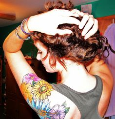 colorful flower tattoo love the look!