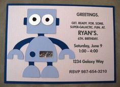 Robot Birthday Party Invitations. $2.50 USD, via Etsy.