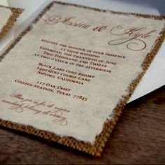 Burlap invites from etsy!!