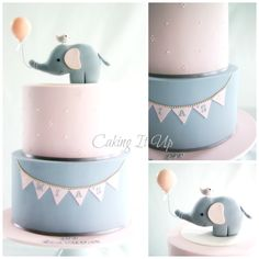 Pink and gray cake with bunting and elephant cake topper www.facebook.com/cakingitup