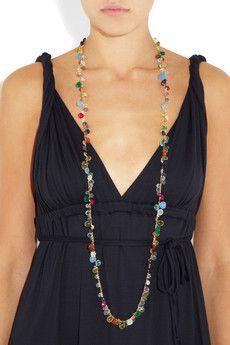 Rosantica  Pacifico 24-karat gold-dipped multi-stone necklace