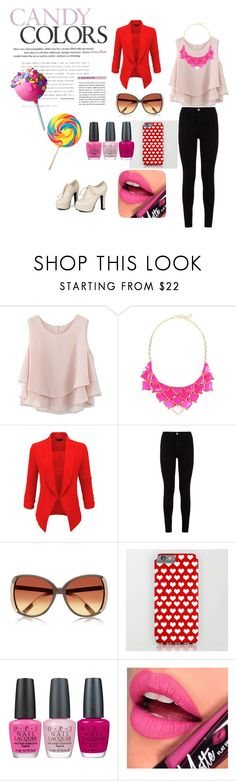"""""""Colors"""" by azraa-tursunovic ❤ liked on Polyvore featuring moda, Chicwish, George J. Love, LE3NO, 7 For All Mankind, River Island, OPI, Fiebiger, Sidewalk e women's clothing"""