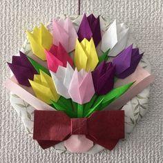 折り紙リース*チューリップの花束 紫*壁面飾り/春/入学/入園/4月