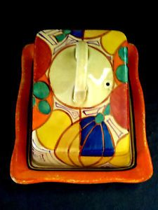 """Clarice Cliff Bizarre """"MELON"""" Cheese Dish and Cover in Pottery, Porcelain & Glass, Pottery, Clarice Cliff, Decorative/ Ornamental 