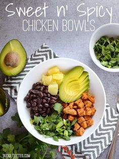 These Sweet n' Spicy Chicken Bowls assemble quickly and provide a lot of flavor, color, and texture. Low sugar, high fiber, and loaded with deliciousness!