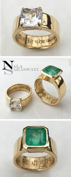 A stunning pair of custom engagement rings in 18K gold with Sanskrit engravings. The gems are set to make skin contact to improve the beneficial effects of planetary influences in my clients Vedic astrology charts. The white sapphire is for Venus and the emerald is for Mercury. Contact Nala Saraswati for custom jewelry. #engagementrings