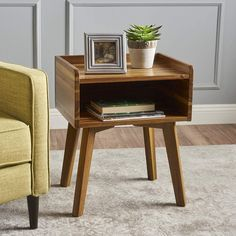 Christopher Knight Home 301288 Alanna Natural Stained Acacia Wood Accent Table for sale online Mid Century Modern Bedroom, Mid Century Modern Furniture, Living Room End Tables, Wood Nightstand, Nightstands, Modern Bedroom Furniture, Industrial Furniture, Wood Furniture, Bedroom Decor