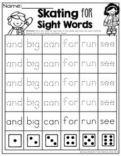Roll and trace a SIGHT WORD! Tons of fun printables!