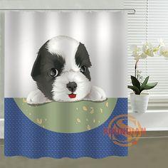 Modern dog cartoon Curtain Shower Curtains Bathroom Accessories polyester fabric waterproof Curtains #Affiliate