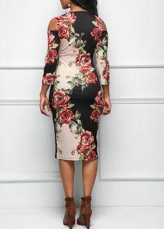 Three Quarter Sleeve Cold Shoulder Flower Print Dress | Rosewe.com - USD $32.19
