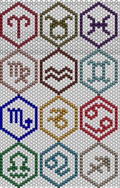 Peyote/Brick stitch of zodiac Peyote Stitch Patterns, Seed Bead Patterns, Beaded Jewelry Patterns, Beading Patterns, Bracelet Patterns, Loom Bands, Motifs Perler, Beaded Banners, Bead Loom Bracelets