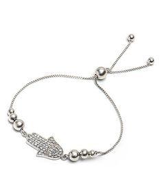 This Sterling Silver Hamsa Station Adjustable Bracelet With Swarovski® Crystals is perfect! #zulilyfinds