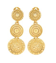 OSCAR DE LA RENTA - Clip-on earrings - In bright golden metal, this pair of clip-on earrings from Oscar de la Renta are certain to give your special-occasion look a glamorous finish. The intricately embossed discs give a sense of opulence. Wear yours with a white lace dress to a summertime party, or pair simply with black for elegant evenings. - @ www.mytheresa.com