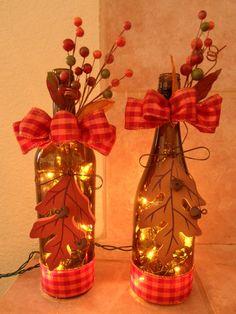 Fall Hand Decorated Lighted Wine Bottle...Hand by VldakotaDesigns, $15.00